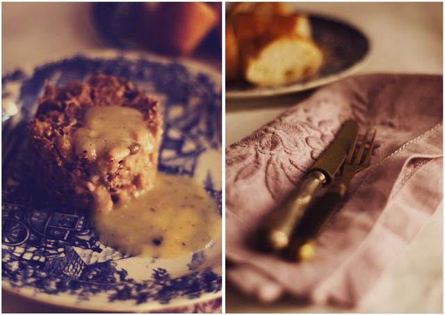 confit de pato, peras y setas