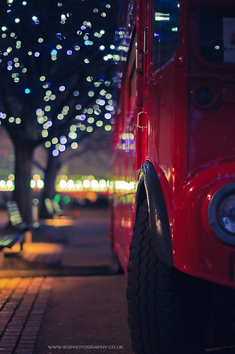 London Bus ay Night on the South Bank