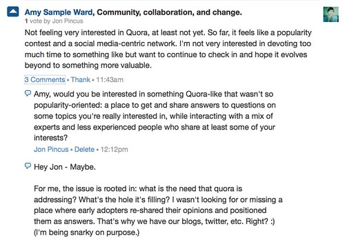 Amy Sample Ward: Not feeling very interested in Quora, at least not yet