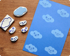 Hand carved rubber stamps for clouds lovers