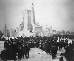 St. Paul Winter Carnival's blanket toss near the ice palace, 1887