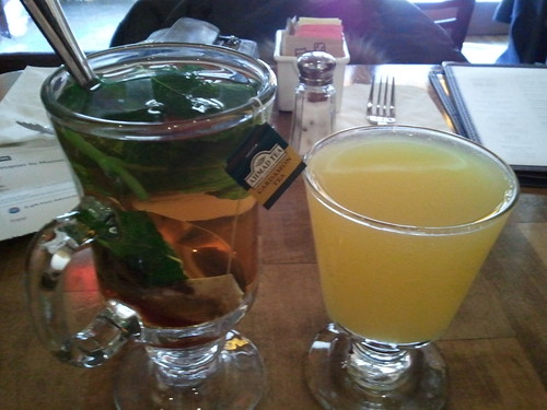 Hot mint tea, mimosa