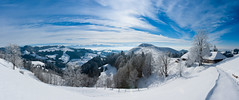 Emmental (Thierry Hennet) Tags: blue panorama cloud sunlight white snow nature zeiss landscape switzerland suisse outdoor sony scenic hills snowcapped vista farms cloudysky emmental mountainrange beautyinnature a900 coldtemperature cz2470mmf28
