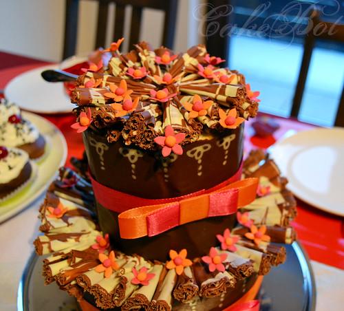 orange and pink flower cake