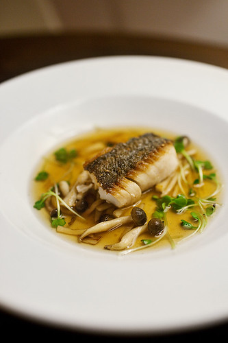 Pan Roasted Black Cod with Bun Shimeji Dashi