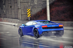 Lamborghini LP560-4 (Dylan King Photography) Tags: street blue sea canada black wet water rain vancouver island nikon driving bc blu britishcolumbia side rear wheels gray spot front richmond grill parked headlight rims lamborghini coupe v8 bentley v10 exhaust caelum d90 mcl mulsanne lp5604