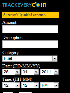 Successfully added expense