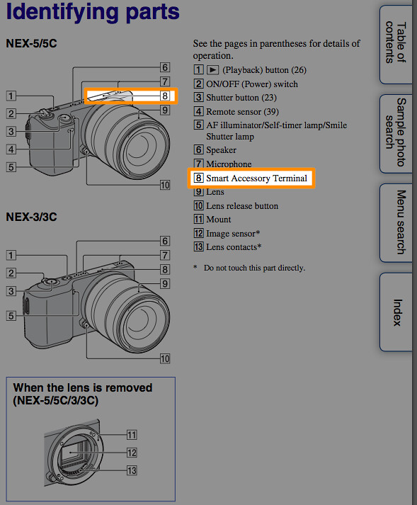 Location of the Smart Accessory Terminal, illustrated on page 11 of the Sony NEX-3 Handbook