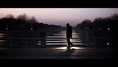 A Beautiful Mind. (Stefano Santucci - www.stefanosantucci.it) Tags: she bridge sunset man love beautiful tramonto alone candid her lei uomo solo mind thinking cinematic amore ragazza