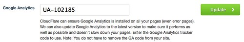 CloudFlare Google Analytics