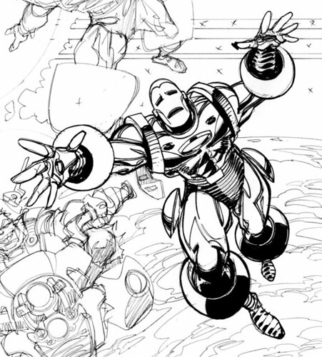 Iron Man by Walt Simonson in style of Gene Colan
