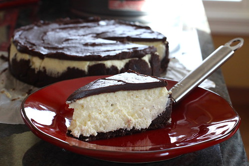 vanilla bean cheesecake with chocolate ganache