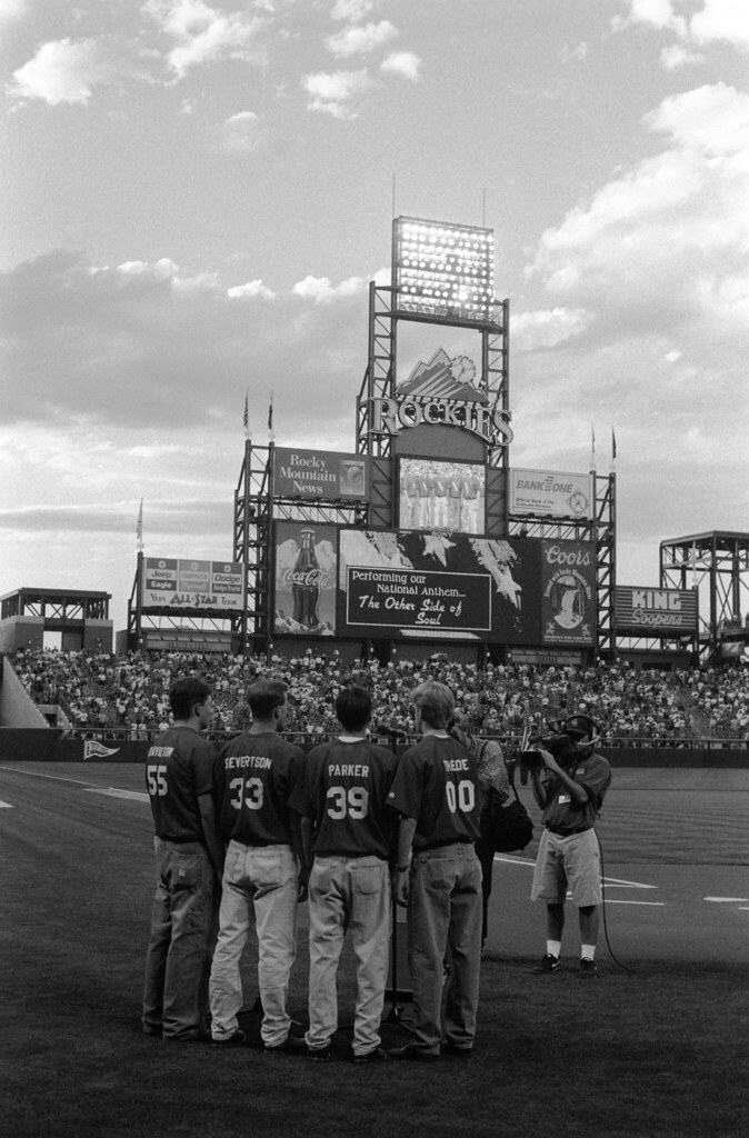 1997 08 Thede - TOSOS at Coors Field - 09 Mike Davidson, Scott Severtson, Jake Parker, and Adam Thede