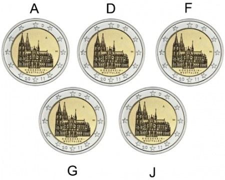 5x 2 Euro Nemecko 2010 A,D,F,G,J, Spolková krajina Porýnie-Westfálsko