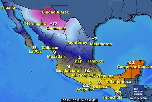 Temperaturas de México 3-feb-20111