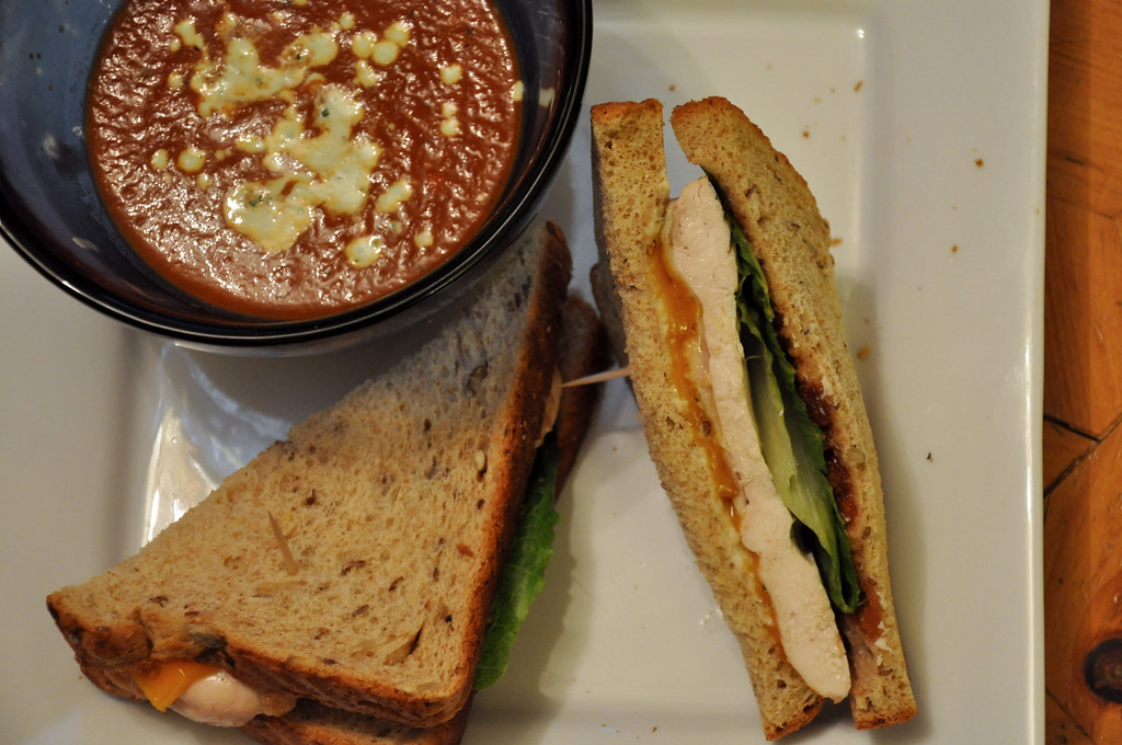red pepper soup & spiced chicken sandwich