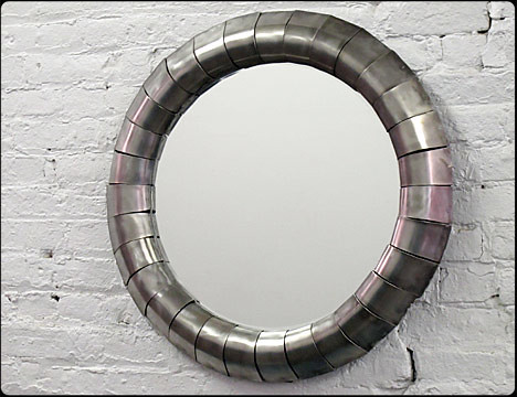 Wormhole Round Steel Mirror