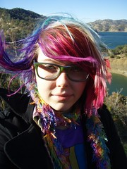 It was windy (Megan is me...) Tags: blue red portrait orange lake color green colors smile fashion rose yellow self hair effects photography one diy clothing crazy rainbow eyes colorful neon pretty colours russell bright unique awesome meg violet plum megan style nuclear special clothes kind fishbowl iguana jerome colored mayhem punky striped bleached dyed napalm sfx berryessa rosered megface meganisme bleachednapalmorange