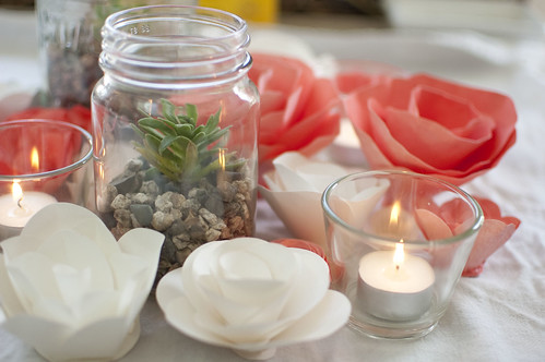 succulents, candles, paper flowers