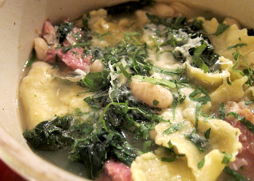 Cannelini Beans with Smoked Hock, Kale, and Pasta Ends
