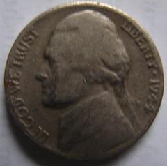 1944 No Mintmark Nickel