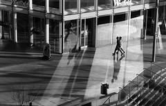 _SFI6538 (Steve Franck) Tags: street light sunset shadow blackandwhite bw west reflection london glass silhouette architecture dark westfield spnp