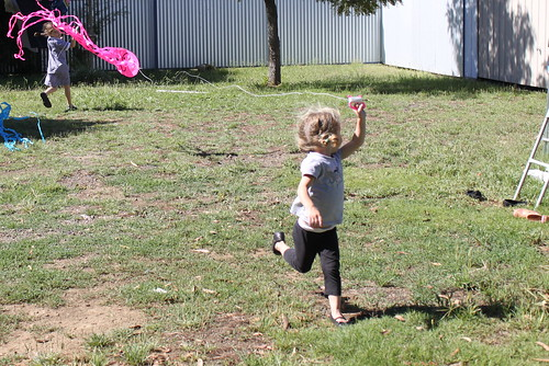 Amelia flying a kite