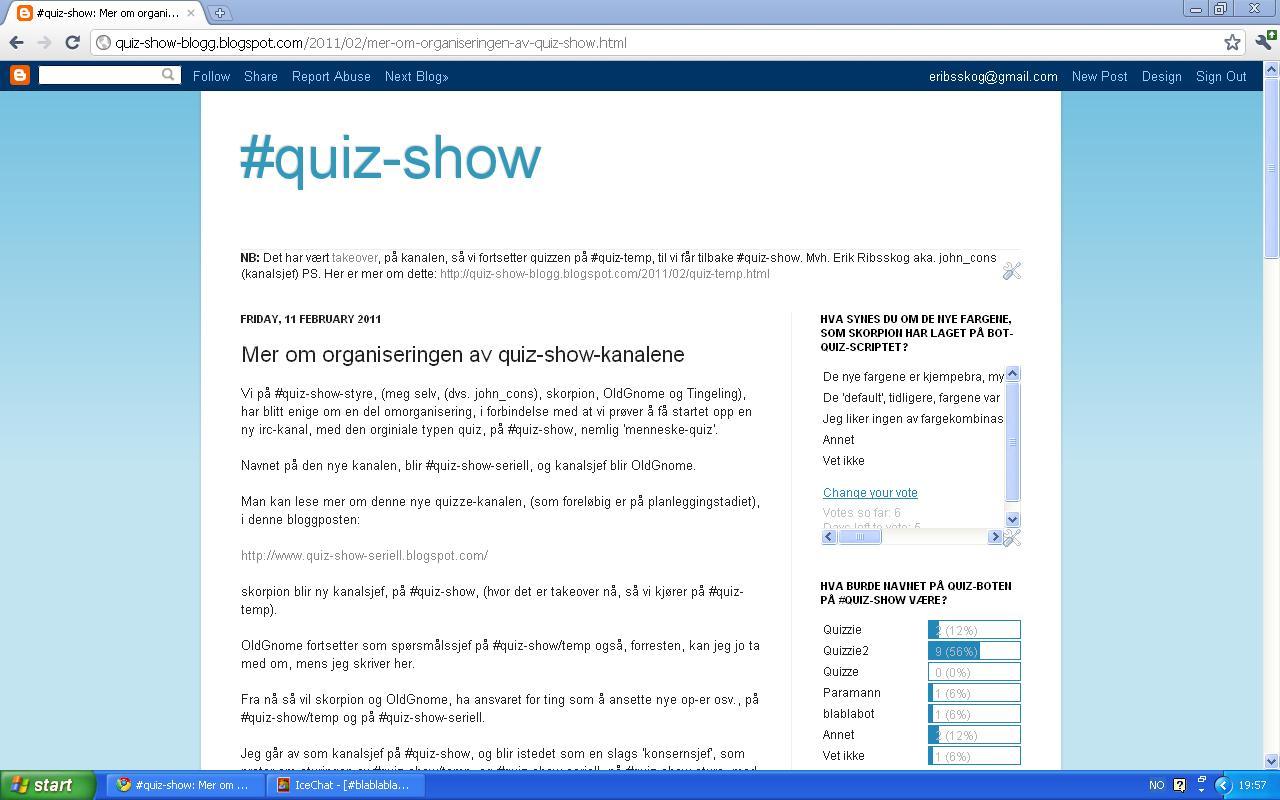mer om organiseringen av #quiz-show-kanalene