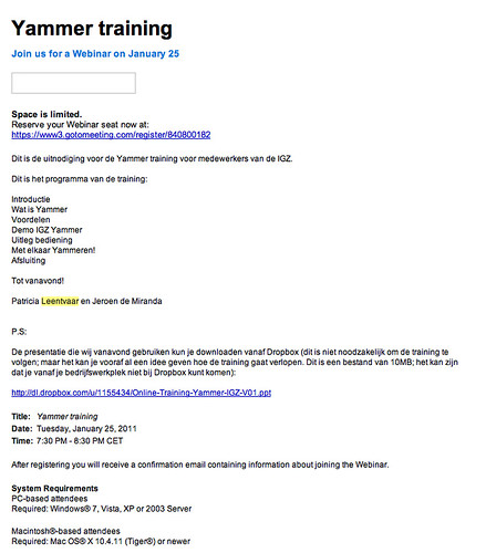 "Your Webinar Invitation: Join us for ""Yammer training"" - jeroendemiranda@gmail.com - Google Mail"
