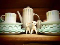 i really couldn't get enough of these two.... (polly peachums) Tags: white kitchen vintage aqua teal kitsch valentine cupcake hobnail milkglass