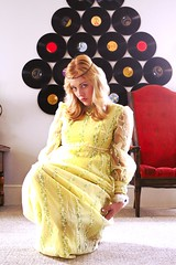 That 70's shoot (fringefalcon) Tags: white green yellow shop vintage shopping clothing chair dress time lace era fancy record 70s hippie ribbon etsy period