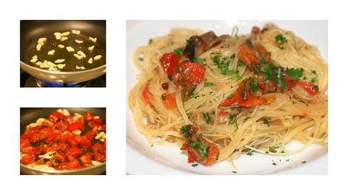 Capellini with grilled eggplants, chili pepper, red pepper, garlic, oil, cherry tomatoes, parsley