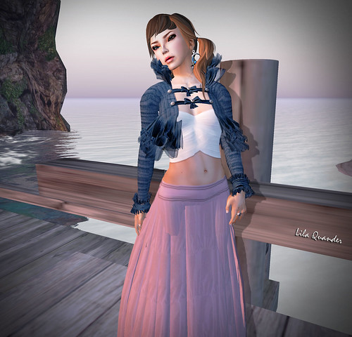 CHIC limited -+BOUNCE+ BOLERO Wool  - Vieux Bleu  ANAIS Short top - Blanc &  GYPSY Long skirt - Vieux Rose (close)