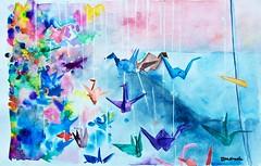 paper cranes. (rebekah.campbell) Tags: blue camp color painting paper cranes watercolour bekah