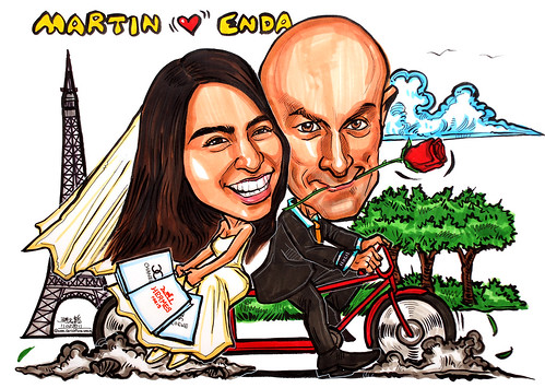 wedding couple caricatures on bicycle @ Eiffel Tower