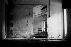 (Delay Tactics) Tags: door light bw white black abandoned wall chair factory explore urbex dronfield haphazartshocktherapy