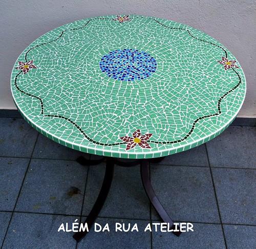 tampo de mesa em mosaico - floral