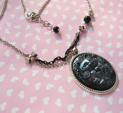 Black Lucky Cat Necklace (Cantankerous Cupcake) Tags: cat necklace handmade polymerclay cameo