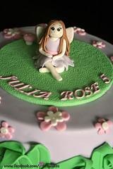 Fairy Birthday Cake (PartyCakesByLeora) Tags: birthday pink flowers leaves cake glitter kids purple sparkle fairy round figure childrens modelling topper fondant sugarpaste