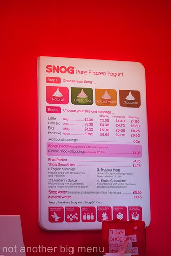 Snog menu board