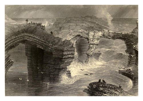 019-Puentes naturales cerca de Kilkee-The scenery and antiquities of Ireland -Vol II-1842-W. H. Bartlett