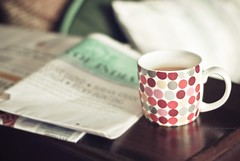 I sleep just to wake up for Coffee! (Bhavna Saluja) Tags: food news coffee march newspaper drink bokeh polkadots mug monday caffeine cushion timesofindia ifnewsdoesntwakeyouupcoffeewill