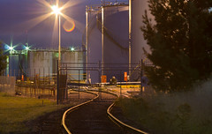 Fyshwick at night (photo obsessed) Tags: night rail railway australia oil land canberra petrol act oceania australiancapitalterritory fyshwick industrialbuildings petroleumstoragetank transportandassociatedobjects