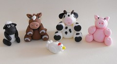 Farm Animals Fondant Cake Toppers (The Lil Details) Tags: horse chicken cookies animal cake cow sheep farm cupcake shaun toppers fondant