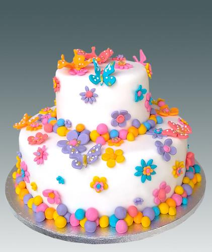 Flowers & Butterflies Cake