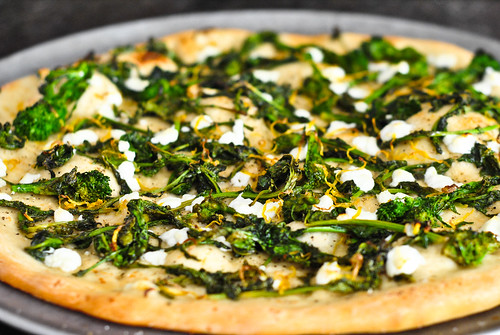 broccoli rabe and goat cheese pizza
