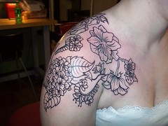Jen's flowers (Artwork by Sarah B.) Tags: tattoo peony delphinium femine flowertattoo blackandgreytattoo