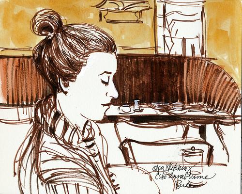 Berlin: Olga sketching, Cafe Anna Blume