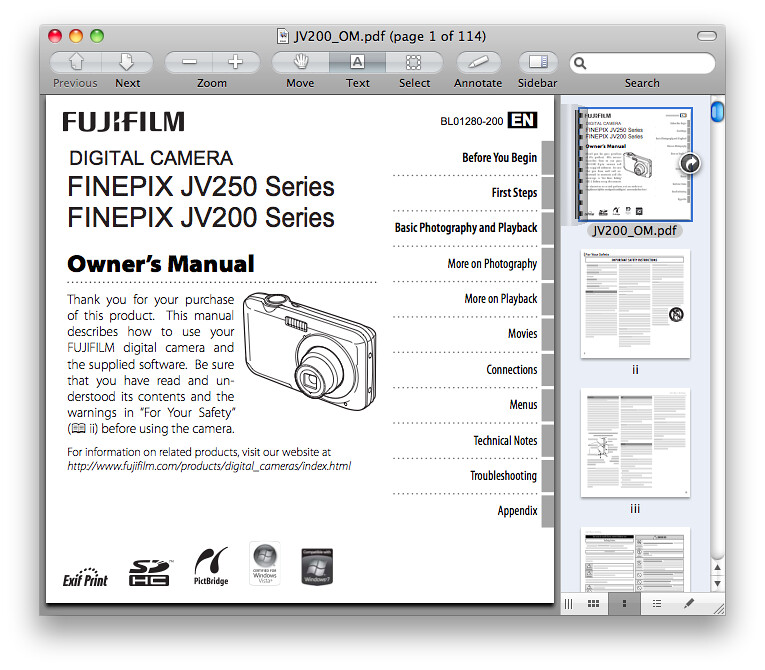 Fuji JV200 Manual