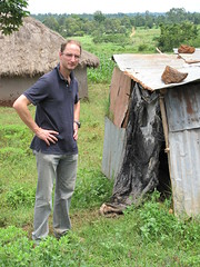 Eric Fevre and pit latrine in Busia, Kenya